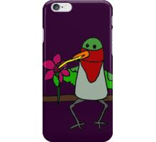 Cool Funny Hummingbird Sipping Nectar from Straw iPhone Case/Skin