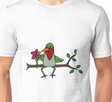 Cool Funny Hummingbird Sipping Nectar from Straw Unisex T-Shirt