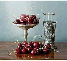Cherries on a silver plate and an ancient glass Photographic Print