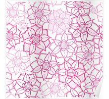 Pink floral pattern in doodle style Poster