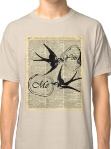 Swallows In Love,Flying birds Vintage Dictionary Art Collage Classic T-Shirt