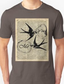 Swallows In Love,Flying birds Vintage Dictionary Art Collage T-Shirt