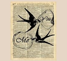 Swallows In Love,Flying birds Vintage Dictionary Art Collage Unisex T-Shirt