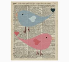 Cartoon Birds in love over encyclopedia page One Piece - Short Sleeve