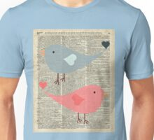 Cartoon Birds in love over encyclopedia page Unisex T-Shirt