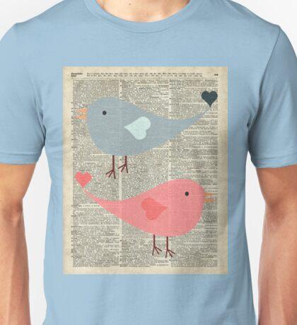 Cartoon Birds in love over encyclopedia page Unisex T-Shirt