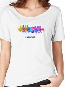 Incheon skyline in watercolor Women's Relaxed Fit T-Shirt