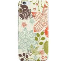 Doodle birds in flowers iPhone Case/Skin