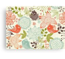 Doodle birds in flowers Canvas Print