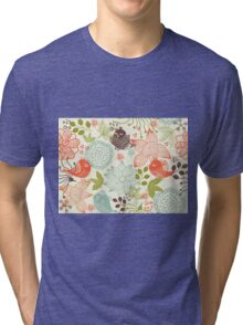 Doodle birds in flowers Tri-blend T-Shirt