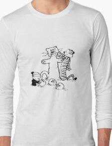 calvin and hobbes with snow T-Shirt