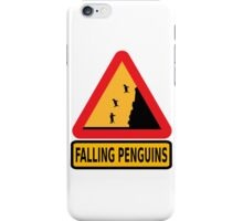 FALLING PENGUINS (Warning Sign) iPhone Case/Skin