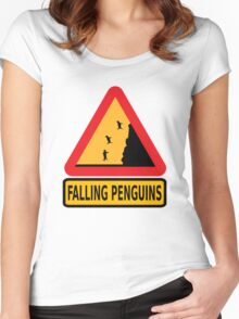 FALLING PENGUINS (Warning Sign) Women's Fitted Scoop T-Shirt