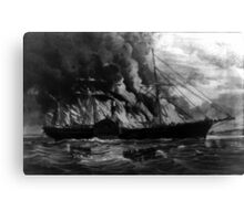 Burning of the steamship Golden Gate - 1862 - Currier & Ives Canvas Print