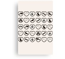 Different hearts! French Bulldog pattern Canvas Print