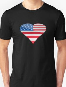 American Flag in the shape of a love heart T-Shirt