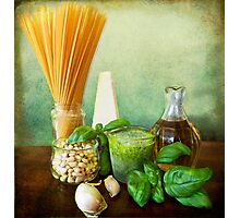 Italian recipe: noodles with pesto (basil,parmisan,garlic,olive oil,pine nuts) Photographic Print