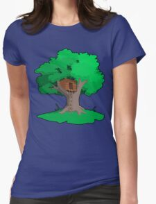 Tree House Artwork Womens Fitted T-Shirt