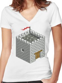 Isocity Castle Building Tower Women's Fitted V-Neck T-Shirt