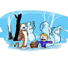 calvin and hobbes blue snow by danielklowor