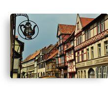 Timbered (fachwerk) houses in Quedlinburg, Germany Canvas Print