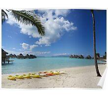 Bora Bora Beach with Kayaks Poster