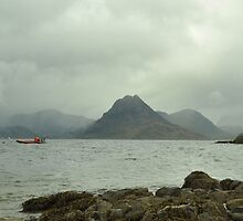 Mountains and Loch Scavaig in the Scottish Highlands  by Yulia Bogomolova