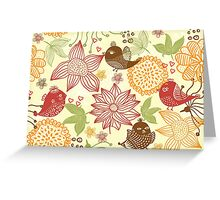 Doodle birds in flowers Greeting Card