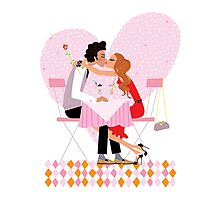 kissing couple Photographic Print