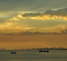 A view of the South China Sea and sunset in Manila, the Philippines by Yulia Bogomolova