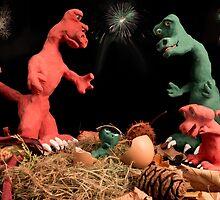 The dinosaurs celebrate a new arrival. by Sara Sadler