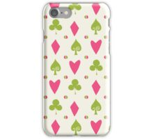 Hearts Clovers alice in wonderland fairy tale minimal kids nursery pattern pink and green iPhone Case/Skin