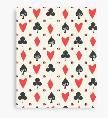 Hearts Clovers alice in wonderland fairy tale minimal kids nursery pattern pink and green Canvas Print