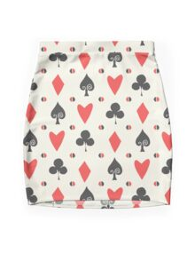 Hearts Clovers alice in wonderland fairy tale minimal kids nursery pattern pink and green Mini Skirt