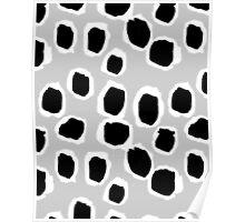 Tess - abstract minimal black and white grey modern art dots polka dots inky hipster splash  Poster
