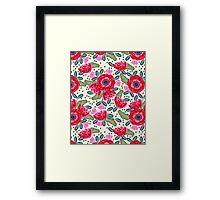 Poppy flower watercolor flowers repeating pattern feminine boho bohemian hipster anthro style fresh Framed Print