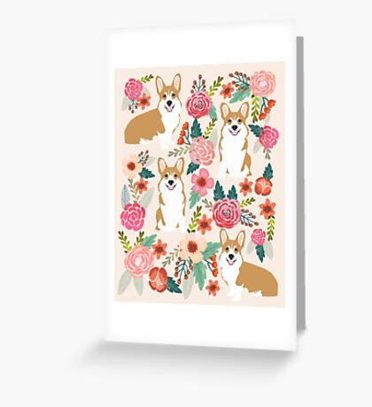 Corgi floral flowers spring garden nature pet pets friendly cute puppy corgis welsh corgi dog Greeting Card