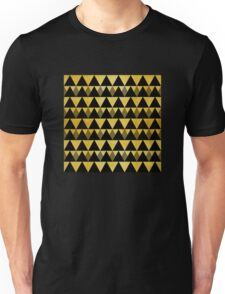 Gold glitter black triangles warm color Unisex T-Shirt