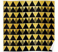 Gold glitter black triangles warm color Poster