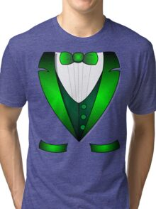 leprechaun suit st patricks day green Irish tuxedo Tri-blend T-Shirt