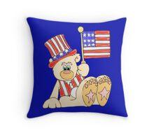 Patriotic Teddy Bear Throw Pillow