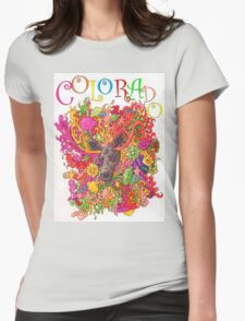 Psychedelic Colorado Moose Womens Fitted T-Shirt