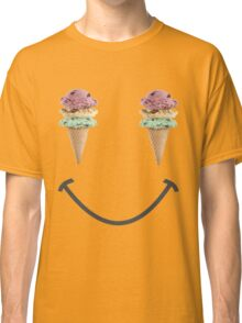 happy summer ice cream cone yellow smiley face Classic T-Shirt