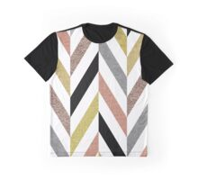Rose Gold & Silver Herringbone Pattern Graphic T-Shirt