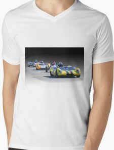 Vintage Racecars 'Home Stretch' Mens V-Neck T-Shirt