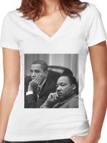 ObaMartin Women's Fitted V-Neck T-Shirt