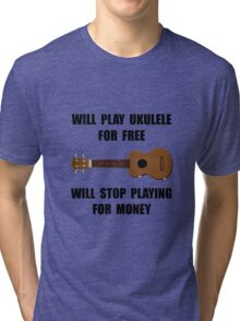 Ukulele Playing Tri-blend T-Shirt
