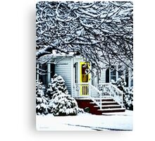 House With Yellow Door in Winter Canvas Print