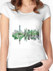 Manhattan watercolor white Women's Fitted Scoop T-Shirt