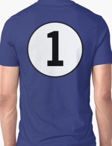 1, First, ONE, Number One, Number 1, Racing, Numero Uno, on Navy Blue Unisex T-Shirt